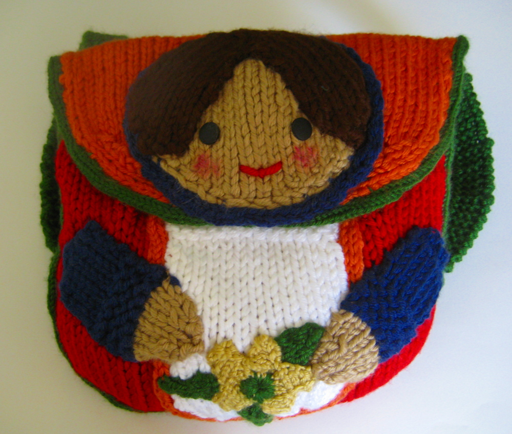 Knit Backpack Pattern : Knitted Matroushka Doll Backpack, bag and keychain pattern Tottie Talks Cra...