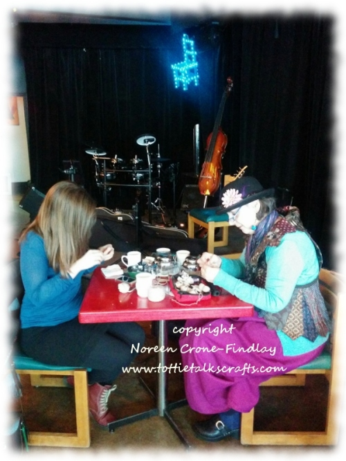 Arwen & Noreen at the Blue Chair cafe making Kindness Bears
