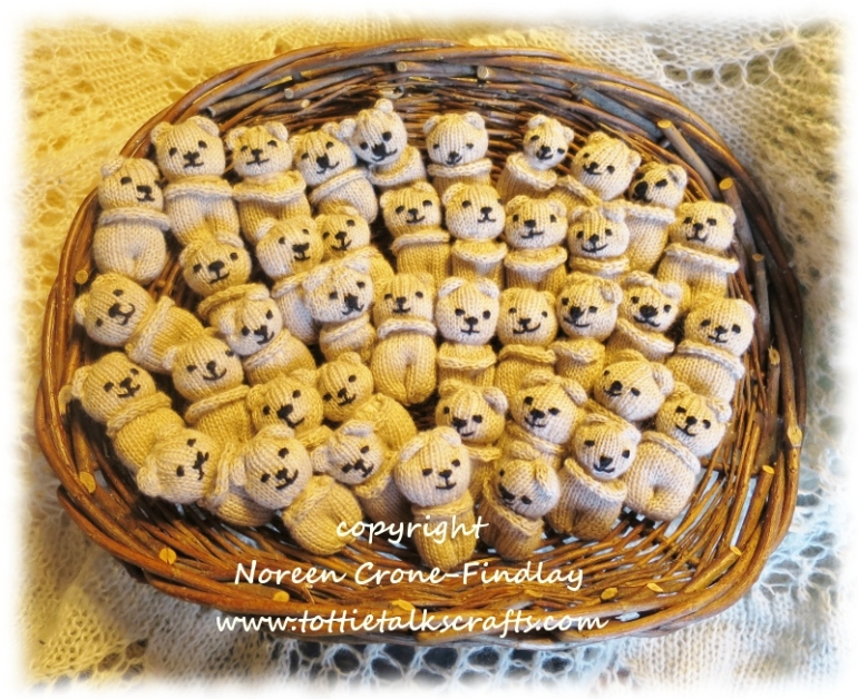 40 little Comfort/Blessing Bears in a Basket! made with love by Noreen Crone-Findlay