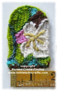 Tiny Tapestry Diary of May apple tree flowers  woven on the Thumbelina loom.