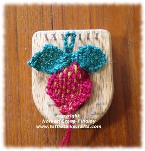 Strawberry woven on the Thumbelina loom