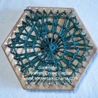 Hexagon Loom weaving- Teneriffe Lace on 4 inch hexagon loom