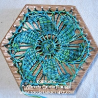 Hexagon Loom Weaving- Teneriffe Lace Starburst Motif on the 6 inch hexagon loom