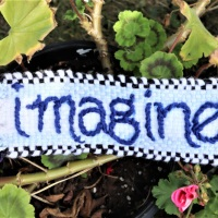 """""""Imagine"""" Banner Weave Along: PART TWO:  How to embroider the narrow band"""